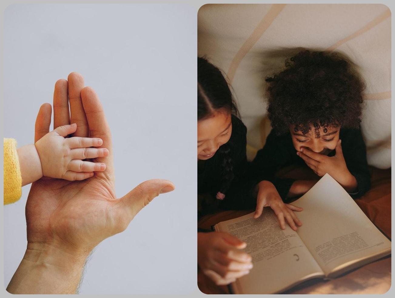 Dwie ilustracje. Z boku mała ręka dziecka. Dłoń dziecka dotyka otwartej dłoni rodzica. Obok druga ilustracja. Widok z góry na dwie dziewczynki, pochylone nad rozłożoną książkę. Czytają w łóżku.